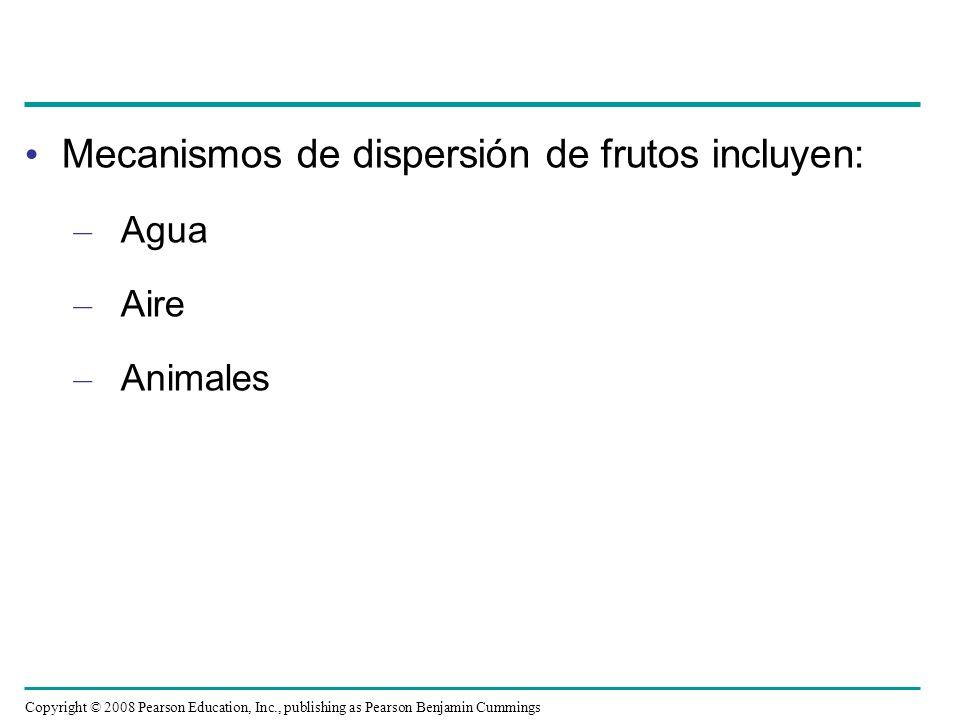 Mecanismos de dispersión de frutos incluyen: