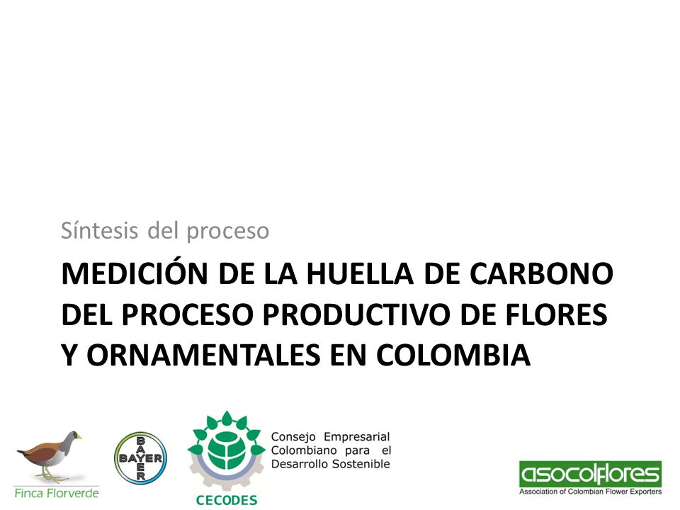 Síntesis del proceso MEDICIÓN DE LA HUELLA DE CARBONO DEL PROCESO PRODUCTIVO DE FLORES Y ORNAMENTALES EN COLOMBIA.