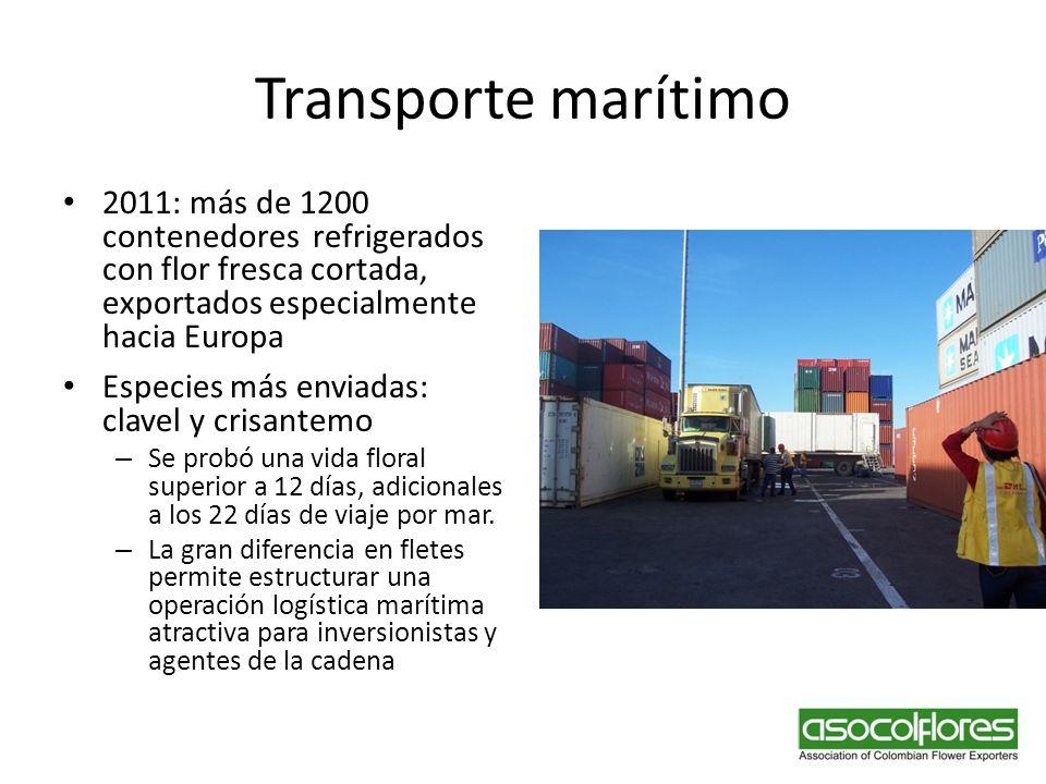 Transporte marítimo 2011: más de 1200 contenedores refrigerados con flor fresca cortada, exportados especialmente hacia Europa.