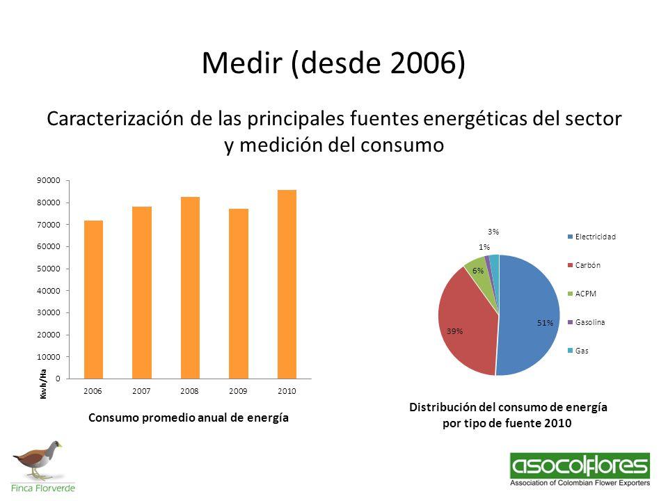 Medir (desde 2006) Caracterización de las principales fuentes energéticas del sector y medición del consumo.