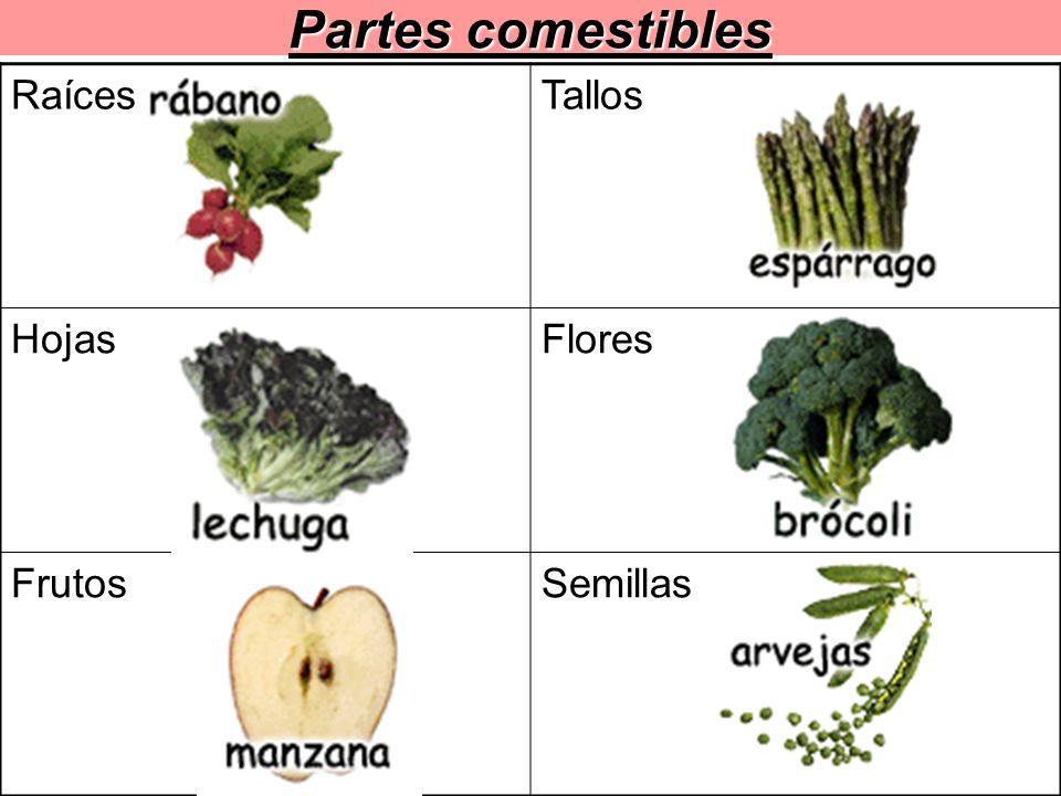 Partes comestibles Raíces Tallos Hojas Flores Frutos Semillas