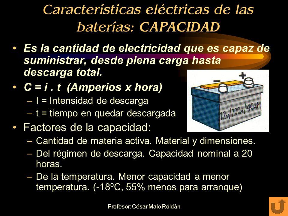 Características eléctricas de las baterías: CAPACIDAD