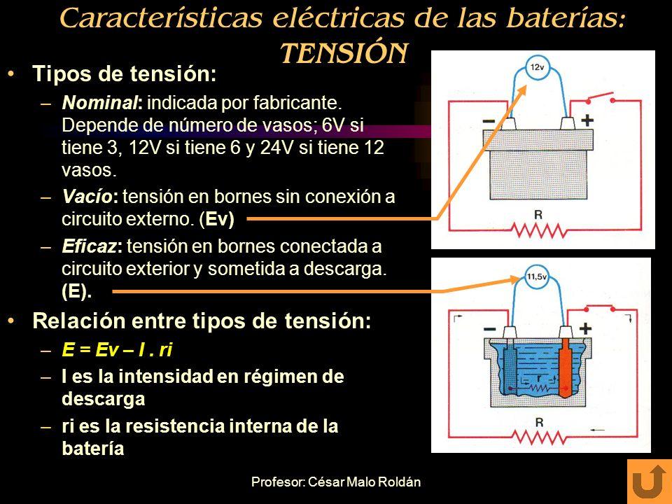 Características eléctricas de las baterías: TENSIÓN