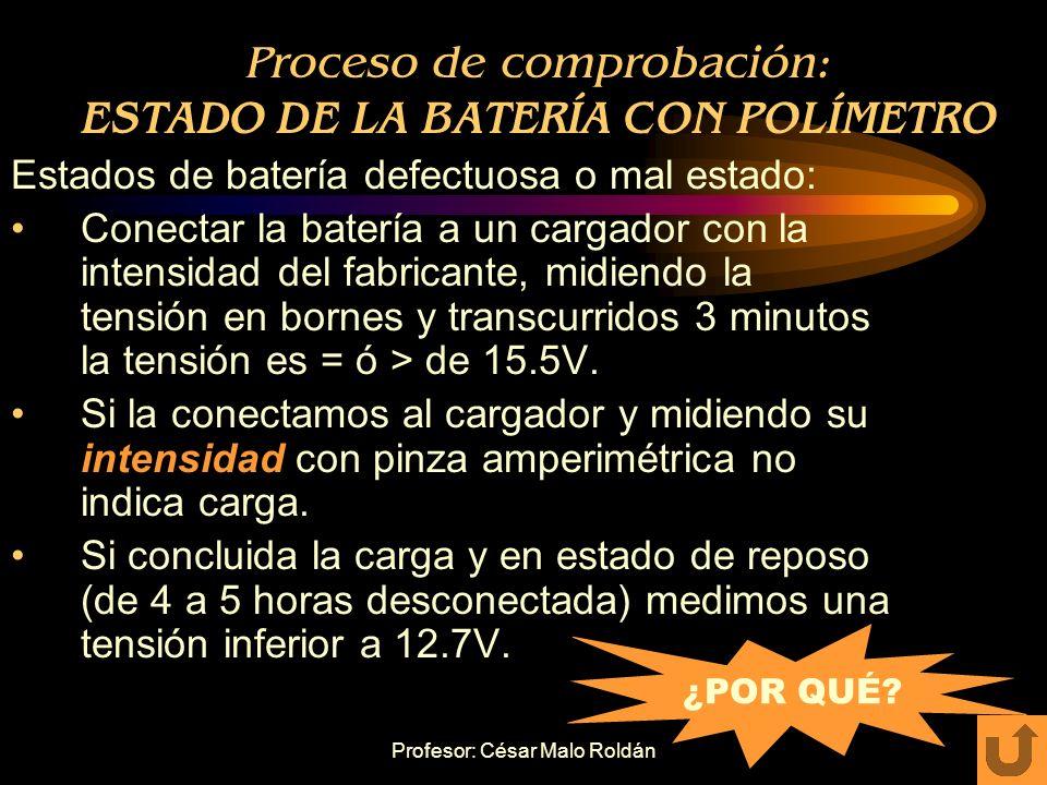 Proceso de comprobación: ESTADO DE LA BATERÍA CON POLÍMETRO