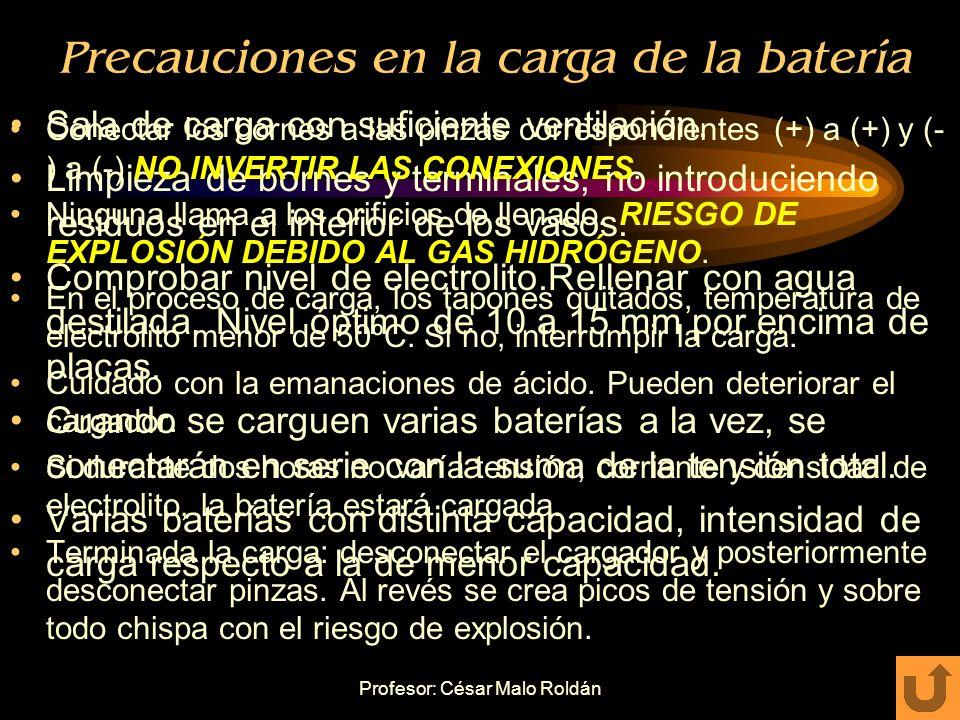 Precauciones en la carga de la batería