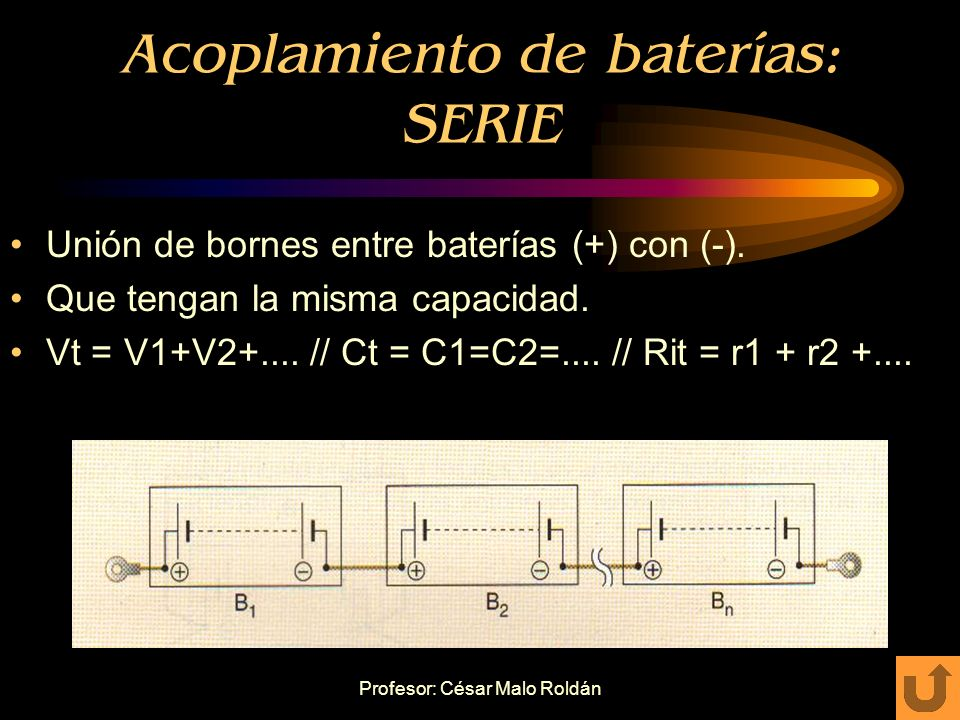 Acoplamiento de baterías: SERIE