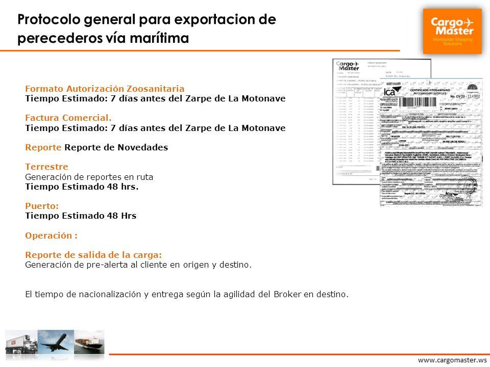 Protocolo general para exportacion de perecederos vía marítima
