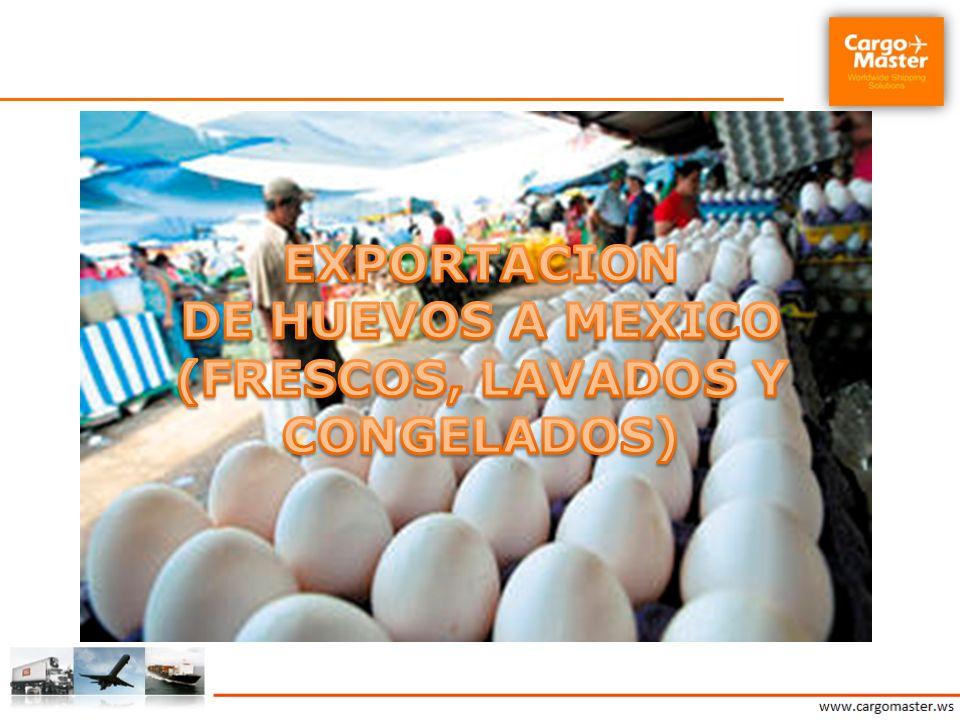 EXPORTACION DE HUEVOS A MEXICO (FRESCOS, LAVADOS Y CONGELADOS)