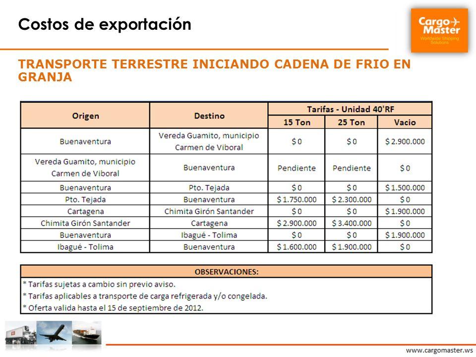 Costos de exportación Transporte terrestre Iniciando cadena de frio en granja