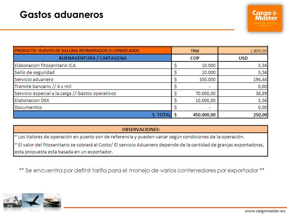 Gastos aduaneros ** Se encuentra por definir tarifa para el manejo de varios contenedores por exportador **