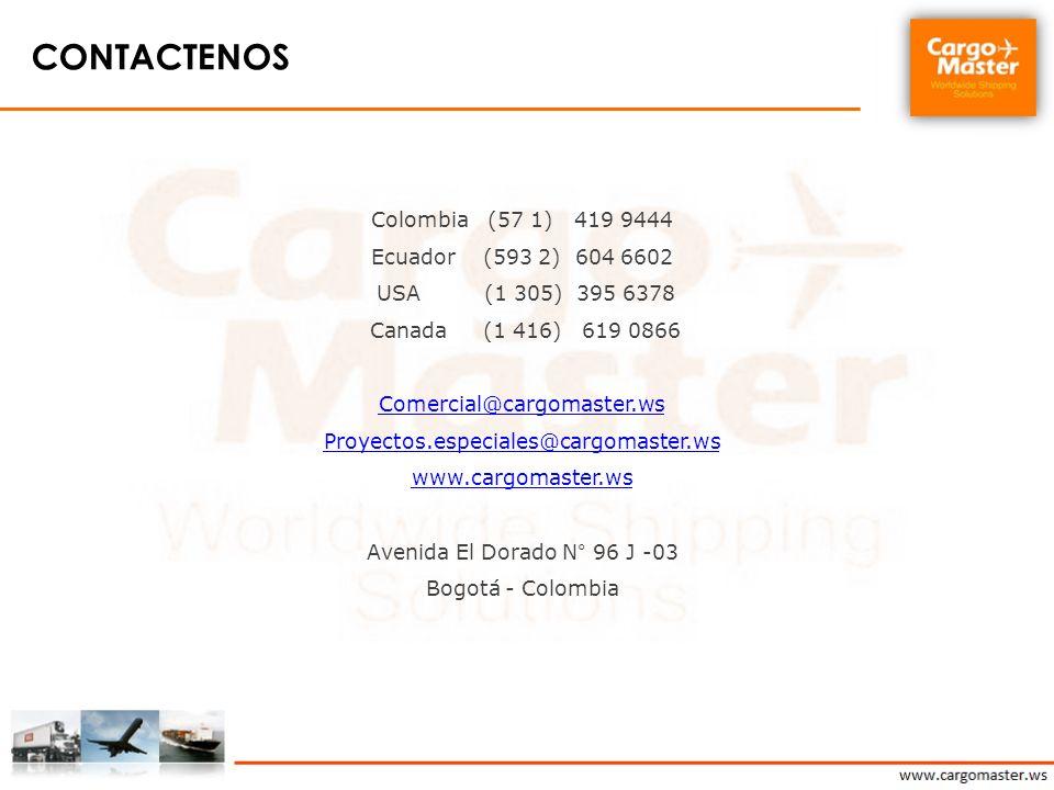 Contactenos Colombia (57 1) 419 9444 Ecuador (593 2) 604 6602