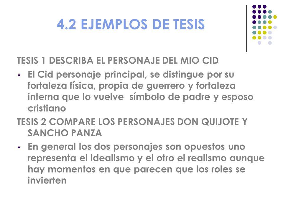 4.2 EJEMPLOS DE TESIS TESIS 1 DESCRIBA EL PERSONAJE DEL MIO CID