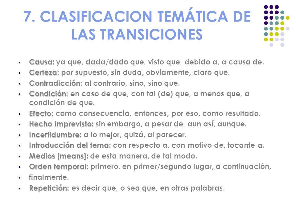 7. CLASIFICACION TEMÁTICA DE LAS TRANSICIONES