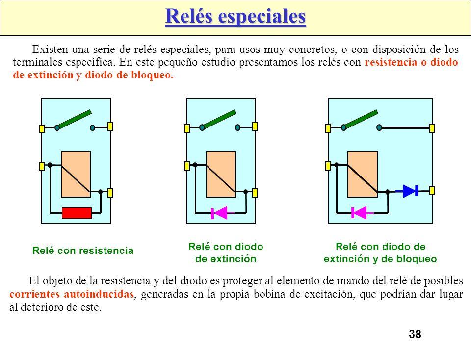 Relé con diodo de extinción Relé con diodo de extinción y de bloqueo