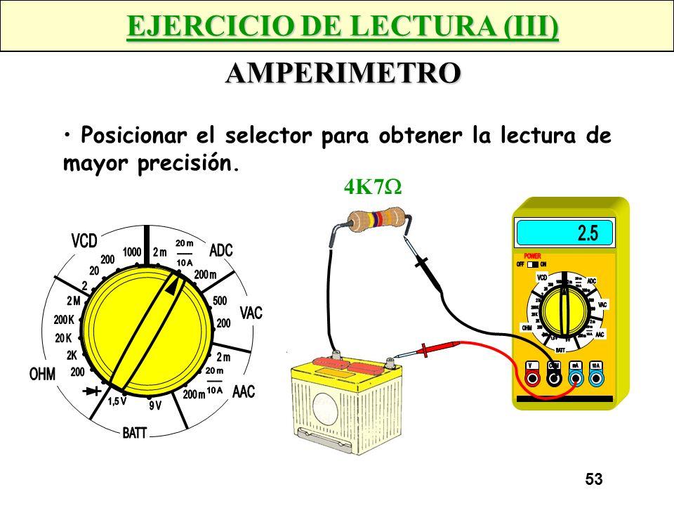 EJERCICIO DE LECTURA (III) AMPERIMETRO