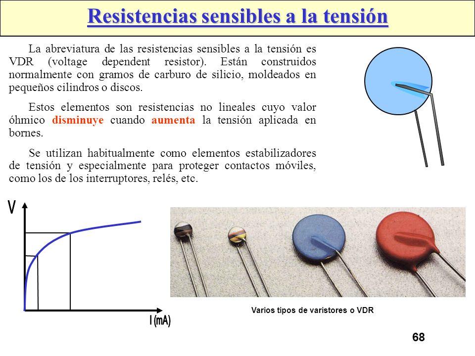 Resistencias sensibles a la tensión Varios tipos de varistores o VDR