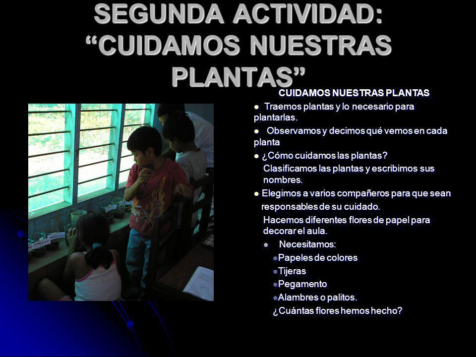 SEGUNDA ACTIVIDAD: CUIDAMOS NUESTRAS PLANTAS