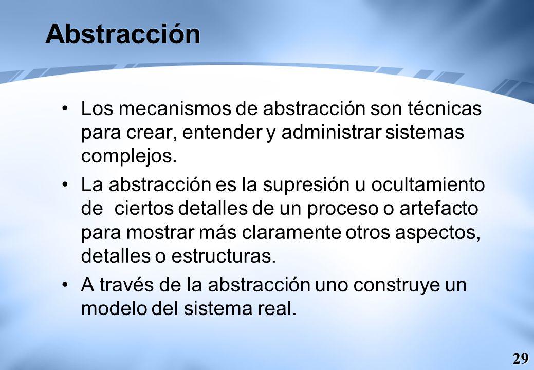 Abstracción Los mecanismos de abstracción son técnicas para crear, entender y administrar sistemas complejos.