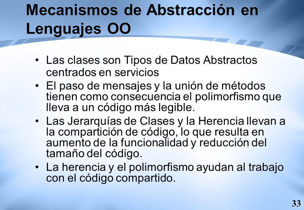 Mecanismos de Abstracción en Lenguajes OO