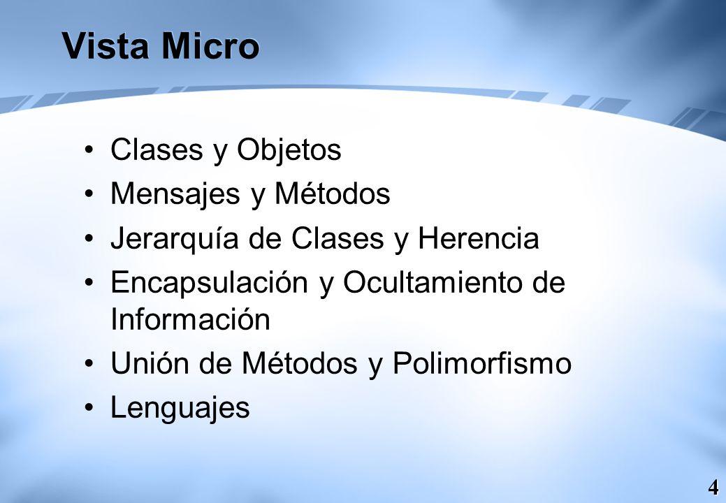 Vista Micro Clases y Objetos Mensajes y Métodos