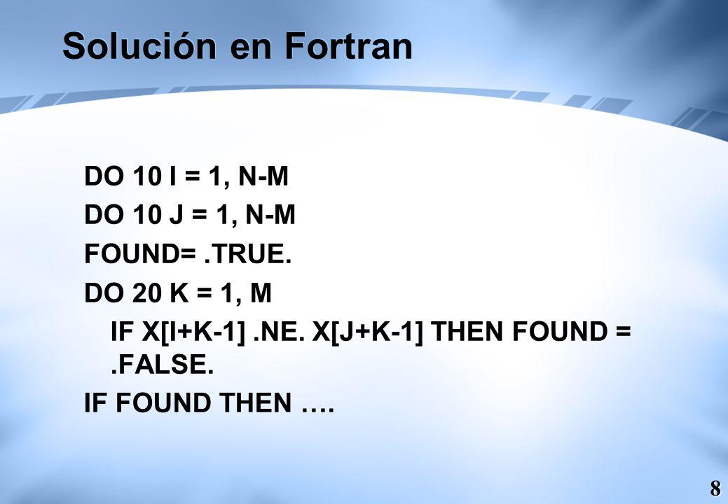 Solución en Fortran DO 10 I = 1, N-M DO 10 J = 1, N-M FOUND= .TRUE.