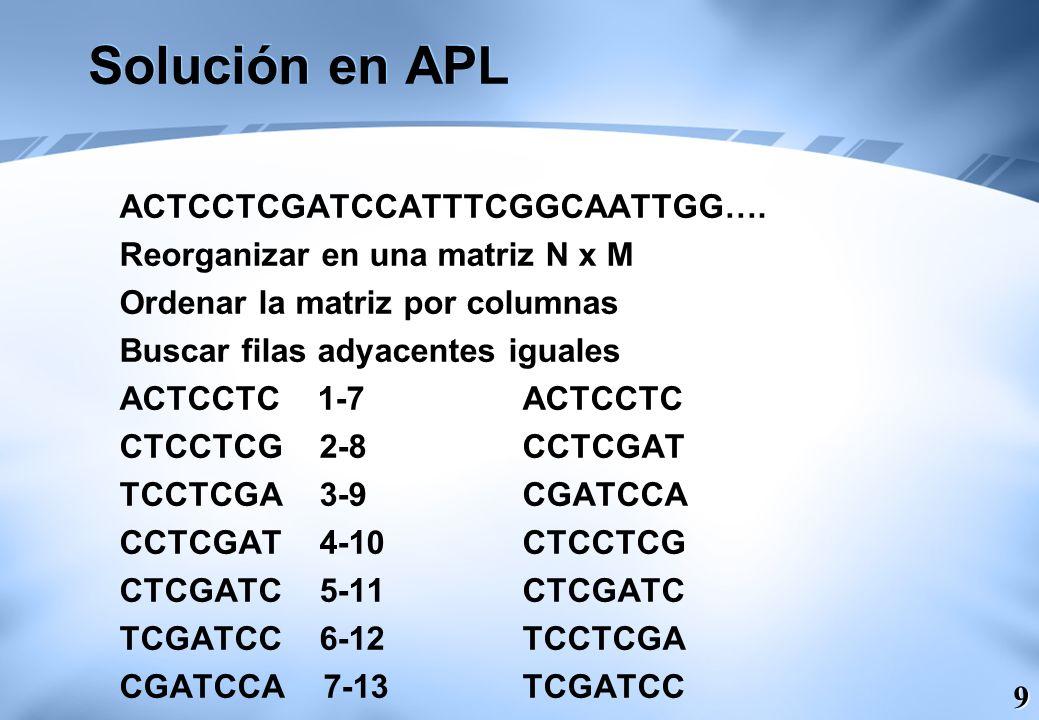 Solución en APL ACTCCTCGATCCATTTCGGCAATTGG….