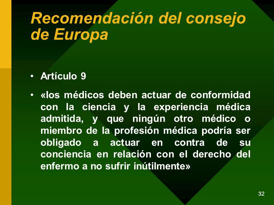 Recomendación del consejo de Europa