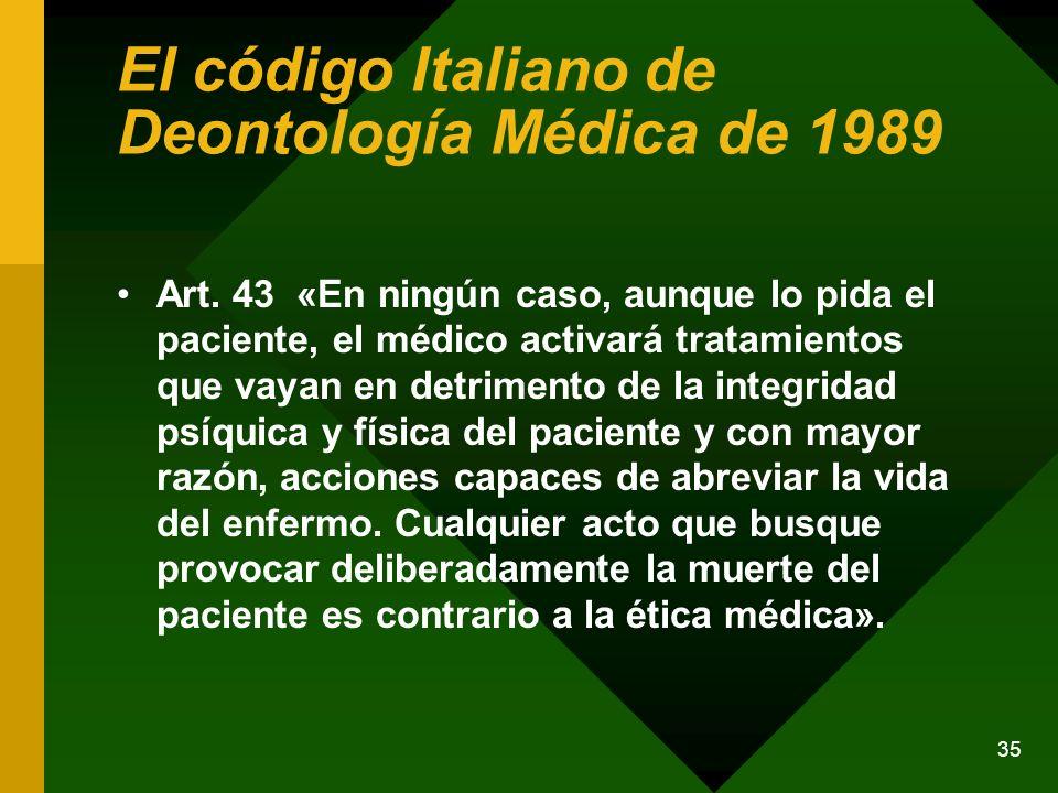 El código Italiano de Deontología Médica de 1989