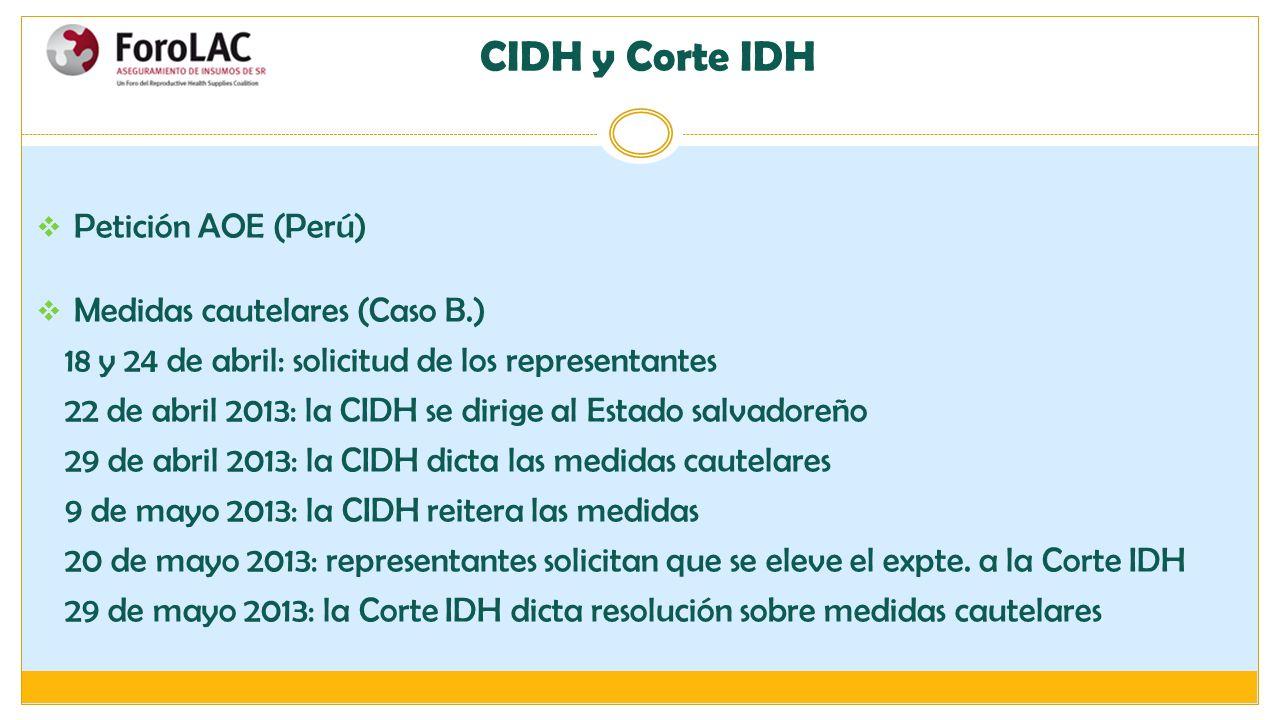 CIDH y Corte IDH Petición AOE (Perú) Medidas cautelares (Caso B.)