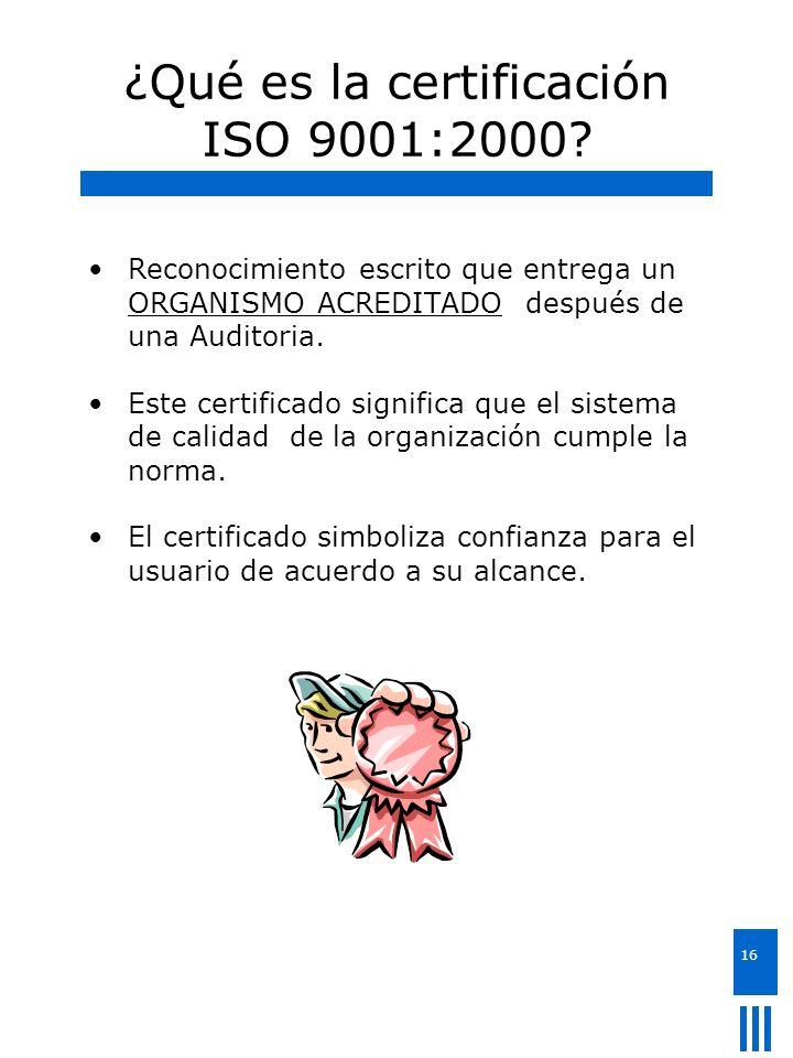 ¿Qué es la certificación ISO 9001:2000