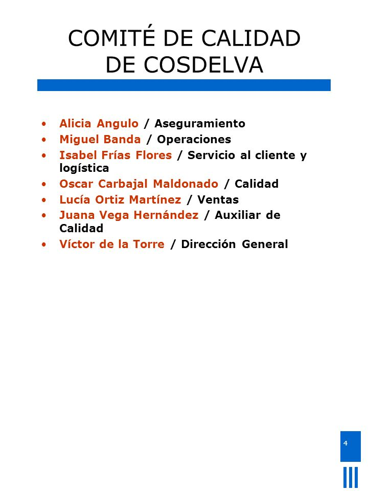 COMITÉ DE CALIDAD DE COSDELVA