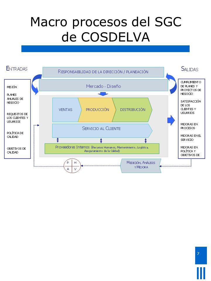 Macro procesos del SGC de COSDELVA