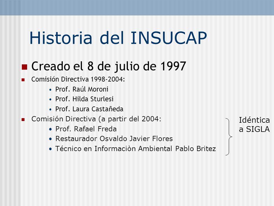 Historia del INSUCAP Creado el 8 de julio de 1997 Idéntica a SIGLA