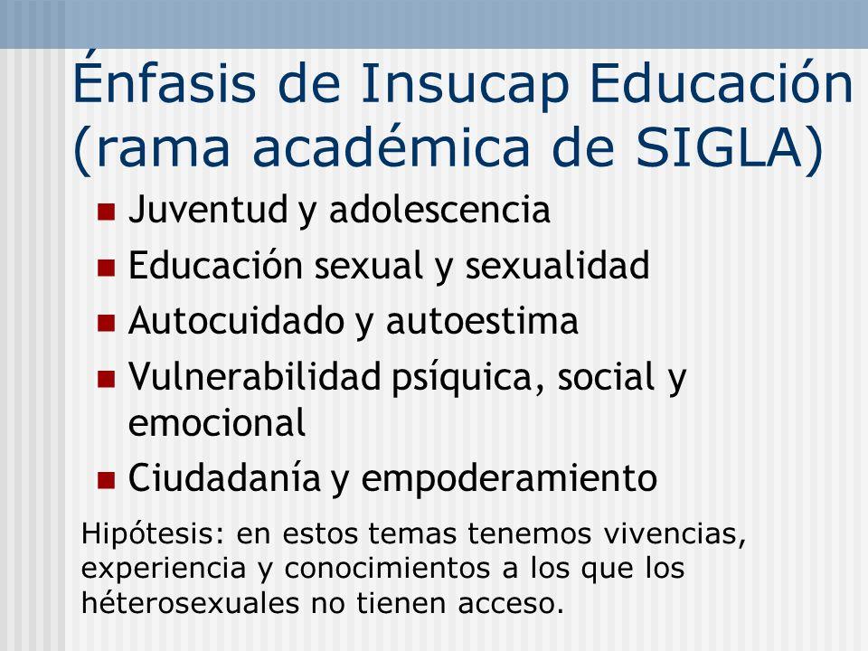 Énfasis de Insucap Educación (rama académica de SIGLA)