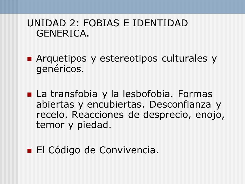 UNIDAD 2: FOBIAS E IDENTIDAD GENERICA.