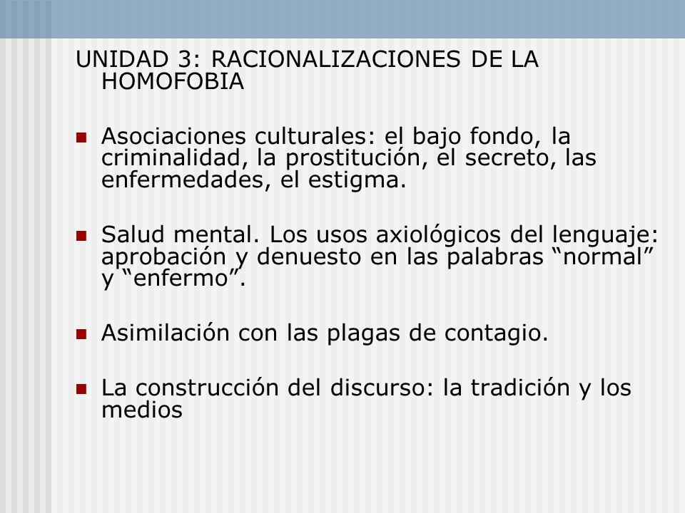 UNIDAD 3: RACIONALIZACIONES DE LA HOMOFOBIA