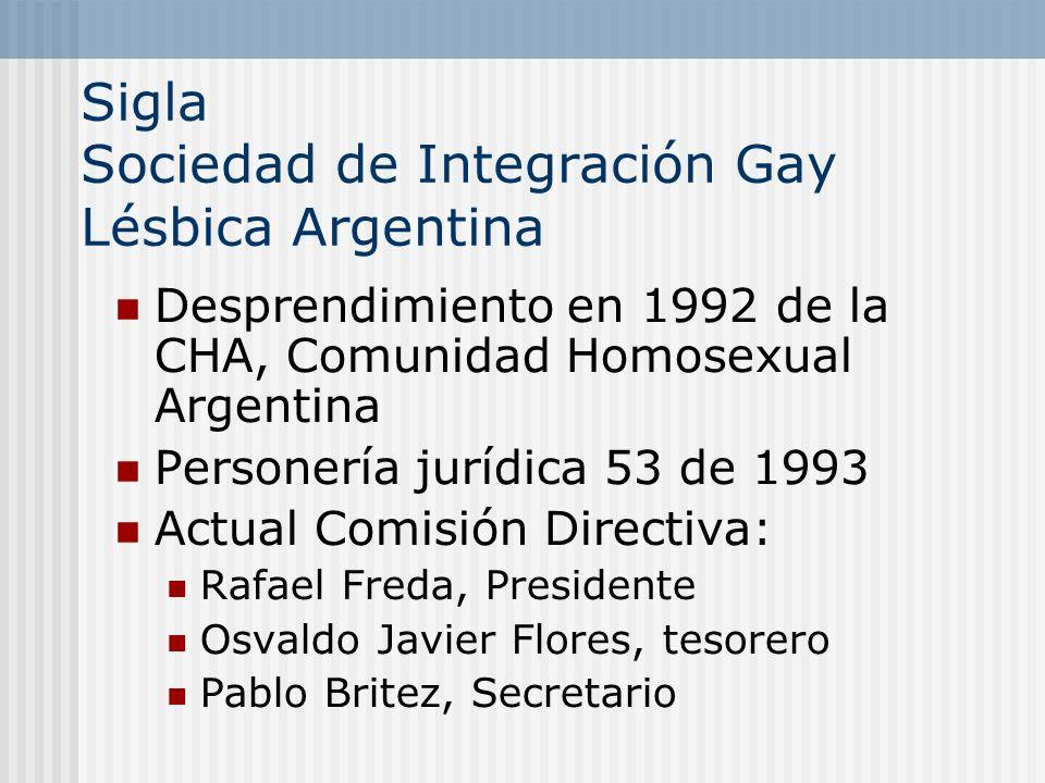 Sigla Sociedad de Integración Gay Lésbica Argentina
