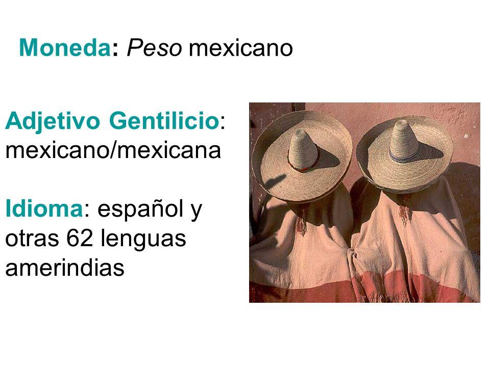 Moneda: Peso mexicano Adjetivo Gentilicio: mexicano/mexicana.