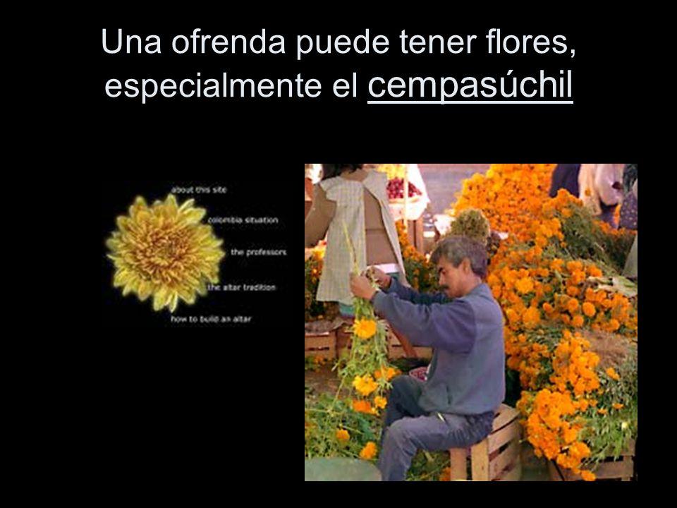 Una ofrenda puede tener flores, especialmente el cempasúchil