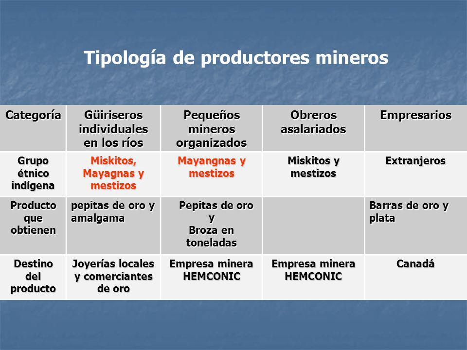 Tipología de productores mineros