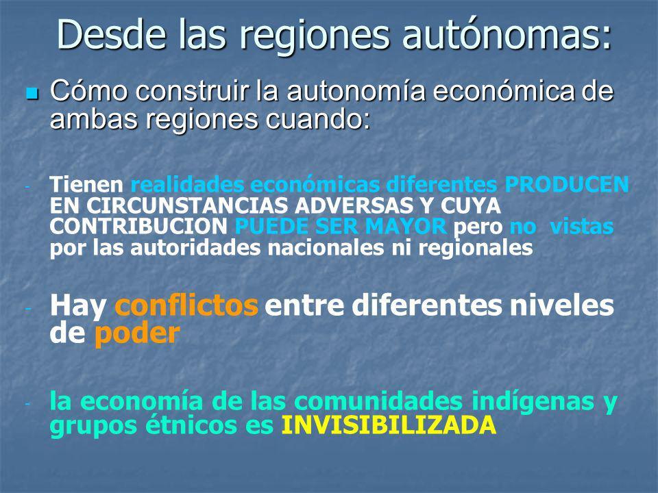 Desde las regiones autónomas: