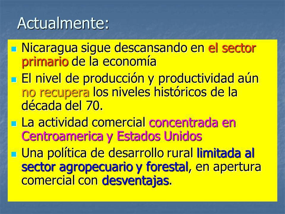 Actualmente: Nicaragua sigue descansando en el sector primario de la economía.