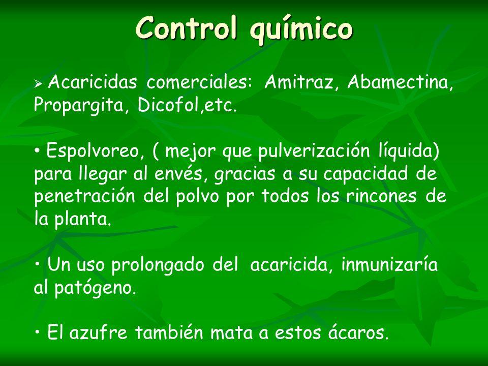 Control químico Acaricidas comerciales: Amitraz, Abamectina, Propargita, Dicofol,etc.