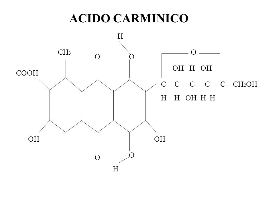 ACIDO CARMINICO H CH3 O O O OH H OH COOH C - C - C - C - C – CH2OH