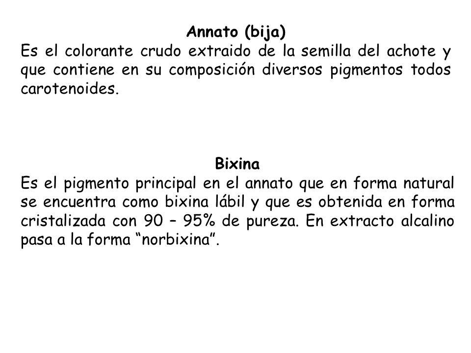 Annato (bija) Es el colorante crudo extraido de la semilla del achote y que contiene en su composición diversos pigmentos todos carotenoides.