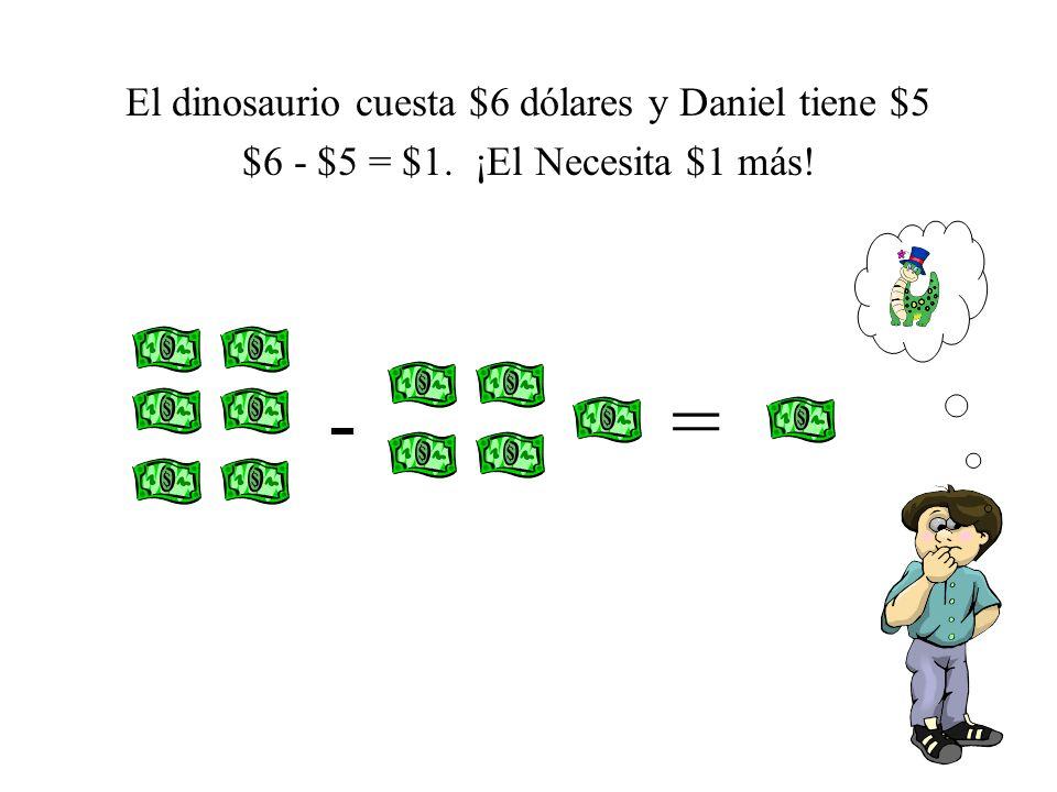 - = El dinosaurio cuesta $6 dólares y Daniel tiene $5