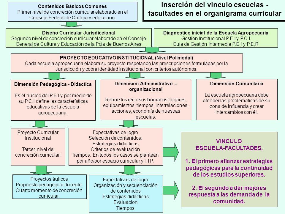 Inserción del vinculo escuelas - facultades en el organigrama curricular