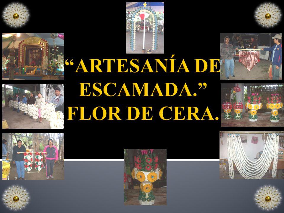 ARTESANÍA DE ESCAMADA. FLOR DE CERA.
