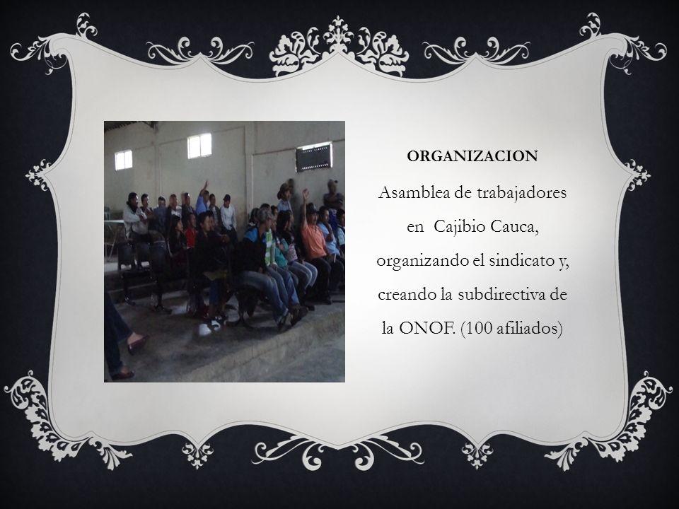 ORGANIZACIOn Asamblea de trabajadores en Cajibio Cauca, organizando el sindicato y, creando la subdirectiva de la ONOF.