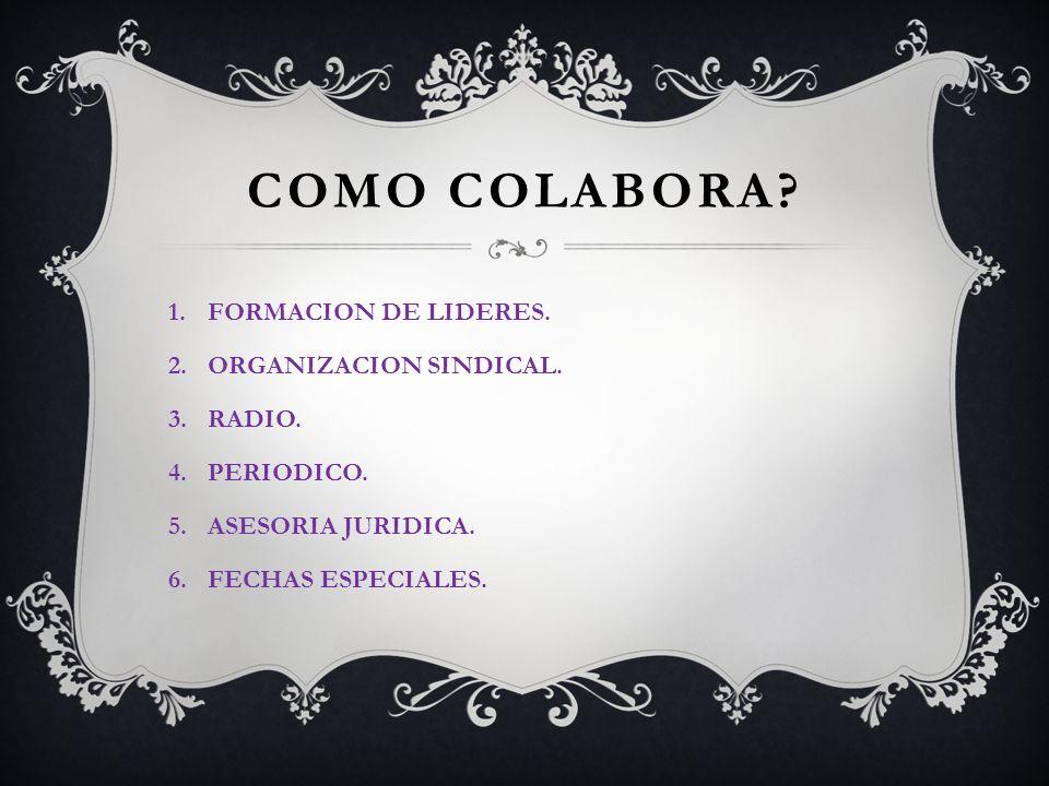 COMO COLABORA FORMACION DE LIDERES. ORGANIZACION SINDICAL. RADIO.